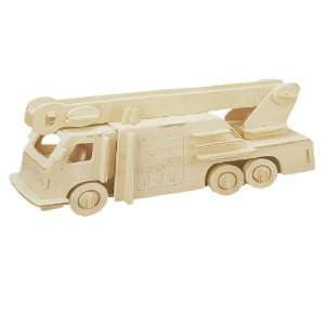 Como Kids 3D Wood Fire Engine Model Woodcraft Construction