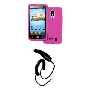 EMPIRE Verizon LG Spectrum Hot Pink Silicone Skin Case Cover + Car