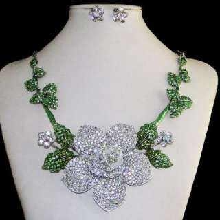 VTG Style Bridal Flower Rose Necklace Earring Set Swarovski Crystal