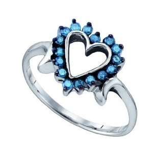 Blue Diamond .25 Cts White Gold 10k Heart Ring Jewelry