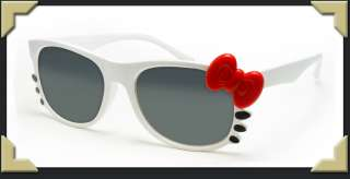 White Frame Hello Kitty Style Sunglasses Really Cute and Unique Bow