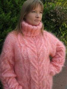 FUZZY LONGHAIR HAND KNITTED SALMON WHITE MOHAIR SWEATER