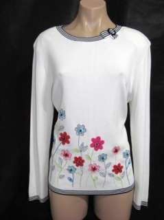 Alfred Dunner Womens White Black Floral Beaded Long Sleeve Shirt Top