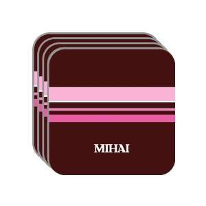 Personal Name Gift   MIHAI Set of 4 Mini Mousepad Coasters (pink