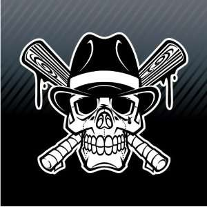 Gangster Skull Baseball Crossed Bats Bad Boy Car Trucks