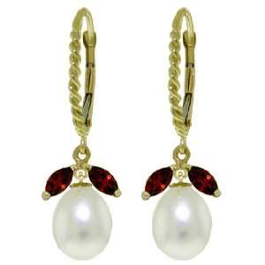 14k Solid Gold Leverback Earrings with Garnets and Pearls Jewelry
