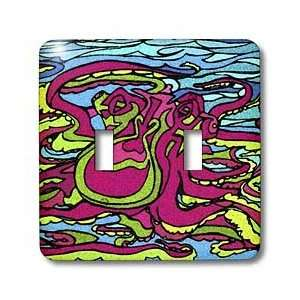 AlienJunkyard Folk Art   Pink Octopus   Light Switch Covers   double