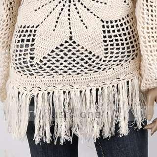 Fashion Casual Women Lady Girl Tassel Crochet Top Blouse Knit Shirt