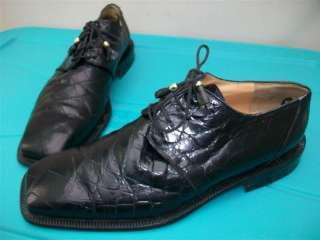 ALLIGATOR BLACK LEATHER MEN DRESSING Shoes size 10.5 M