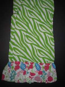 New Mud Pie Green Zebra and paisley ruffle Pajama Lounge Pants M