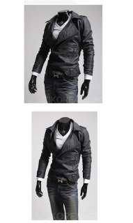 High quality Mens slim new wave South Korean PU leather Coat Jackets