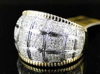 NEW MEN 10K TWO TONED GOLD ROUND CUT PAVE DIAMOND XL PINKY FASHION