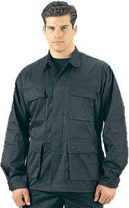 Ripstop Black BDU Military Tactical Camo Army Uniform Shirt
