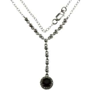 Sterling silver round black and white diamonds necklace