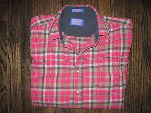 PENDLETON WOOL BUTTON UP LONG SLEEVE SHIRT PLAID MENS SIZE L RED