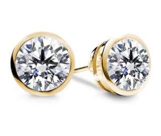 Genuine Round Diamond Stud Earrings 14k Yellow Gold 100% Natural Bezel