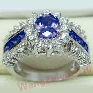 Natural Sapphire&Swarovski Crystal 14k White Gold Ring GP