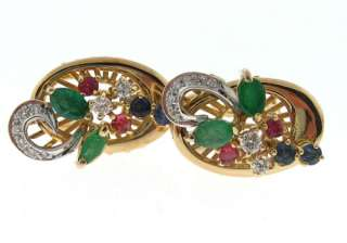 Natural Emerald Ruby Sapphire Diamond 14k Gold Earrings