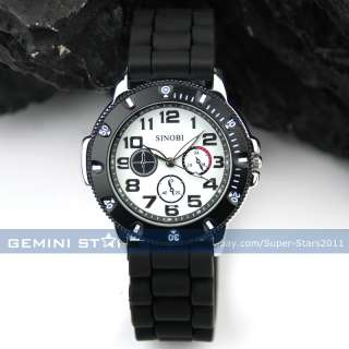 Moveable Gear Bezel Men Boy Military Force Army Racing Sport Silicone