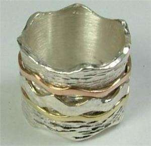 Massive Israeli silver and gold ring swivel plus size