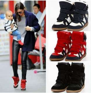High Top Strap Sneakers shoes Ladys PU leather+Suede Wedge Ankle Boots