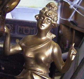 gold gilt figural diana swinging goddess 8 day clock mystery