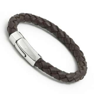 Men GENUINE Brown Stainless Steel Braided LEATHER Cuff Wristband