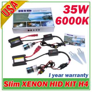 XENON HID Conversion Kit Slim Ballast H4 6000K 35W 12V