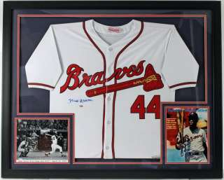 BRAVES HANK AARON AUTHENTIC SIGNED JERSEY FRAMED DISPLAY PSA/DNA