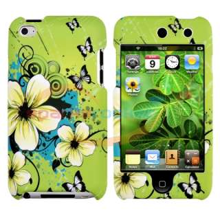 Green Flower Hard Skin Case Cover for Apple iPod Touch 4th Generation