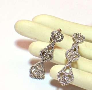 14k White Gold 3 heart round natural Diamond 1.48ctw Pierced Earrings
