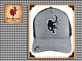 Red Monkey Classic LOGO Cap trucker Hat Black Check Limited edition