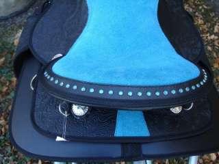 17 BLUE BLING BLACK WESTERN HORSE SADDLE BLACK SHOW NU