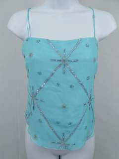 MILLY Light Blue Silk Beaded Tank Top Shirt Size Small