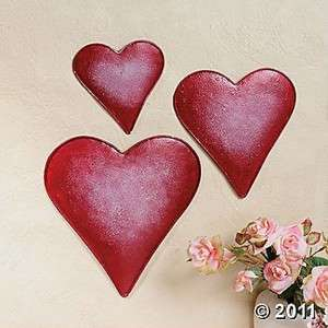 Home Decorating on Embossed Metal Red Heart Shaped Wall Art Decor  Set Of 3  New