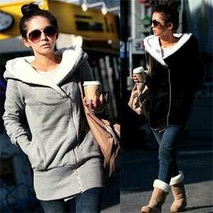 Fashion Women Hoodie Jacket Coat Warm Outerwear Hooded Zip Hta