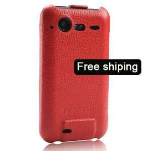 Red Genuine Leather Flip Case Cover for HTC Incredible S