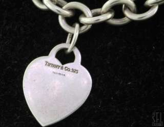 TIFFANY & CO. STERLING SILVER LOVELY HEART CHARM CHAIN LINK NECKLACE