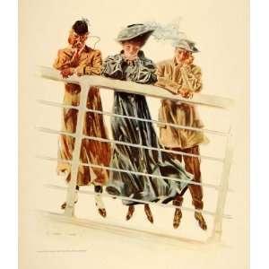 1908 Henry Hutt Victorian Woman Men Ship Costume Print