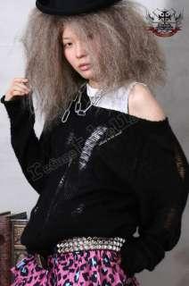 Unisex Punk Rock Grunge Loose Laddered Broken Hole Knit Sweater/Shirt