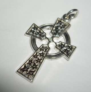 Sterling Silver Iona Celtic Stars Design Detailed Cross Charm Pendant