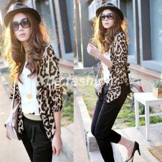 LEOPARD CHIFFON CARDIGAN TUNIC TOPS WOMENS CASUAL BLOUSE SHIRT S M L