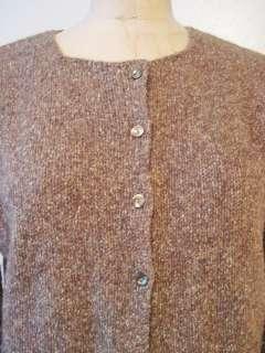 Jill Brown Tweed Wool & Silk Knit Crew Neck Button Cardigan