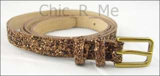 New Color** J Crew Silver Gold Brown Glitter Skinny Belt XS/S/M