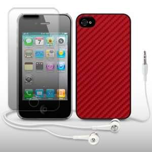 IPHONE 4 TEXTURED DESIGN BACK COVER WITH SCREEN PROTECTOR & HEADSET BY