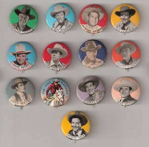 Lot of 13 Western Cowboy Pinbacks   Buttons   Pins