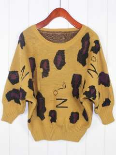 SC386 Yellow Black Leopard Bat Long Sleeved Lady T Shirts Top Blouses