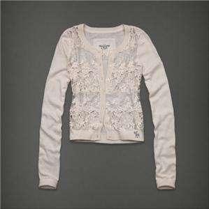 NWT Abercrombie & Fitch Women Jessa Sweater Cardigan Shirt Cream $68