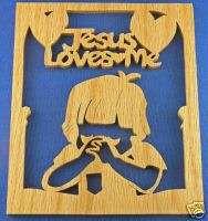 Jesus Loves Me Little Boy Praying Hand Cut Wood Plaque