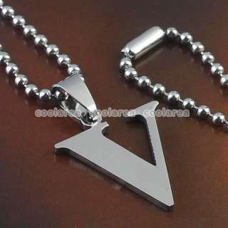 Punk Mens A Z Stainless Steel 26 ALphabet Lettlers Pendant Necklace